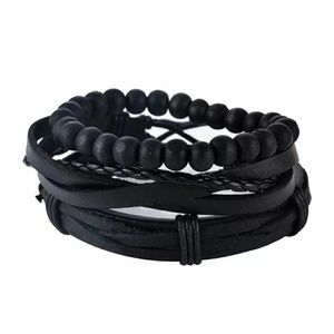 Other - 3PCS LEATHER AND BEAD BRACELETS